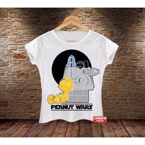 Camiseta Feminina Snoopy Charlie Brown Star Wars Sátira Cine