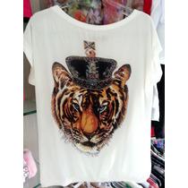 Blusa Bata Top Tunica Chifon E Malha Tigre Branca