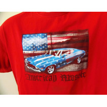 Camiseta American Muscle Carro Malibu Bandeira America Usa