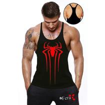 Camiseta Regata Cavada Aranha Exclusiva P/ Musculação