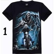 Camiseta Preta Importada 3d. Caveira Motocicleta Moto.
