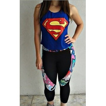Blusa Camiseta Regata Cavada Feminina Media Superman