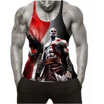 Regata Cavada Heróis Musculação Academia Tank Top God Of War