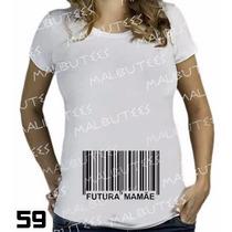 Camiseta De Grávida Gestante Futura Mamãe Codigo De Barra