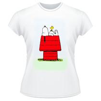 Baby Look Snoopy Peanuts Frente Verso Camiseta Feminina