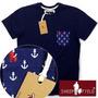 Camisa Camiseta Masculina Com Bolso Estampado Ancora Orginal