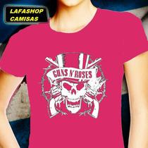Guns Roses Camiseta Baby Look Feminina Camisa Bandas Mocas