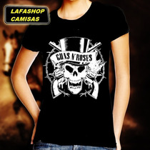 Camiseta Guns Roses Baby Look Feminina Camisa Banda Mulher