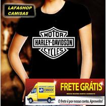 Camiseta Harley Davidson Camisa Baby Look Feminina Moto Band