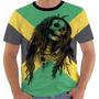 Camiseta Baby Look Jamaica Reggae Bob Marley Skull