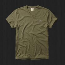 Camiseta Hollister Masculina Gola V Verde Exercito Original