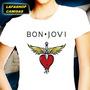 Camiseta Bon Jovi Baby Look Feminina Camisa Rosa Branco Jonh