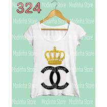 Camiseta Blusa Tshirt Feminina Coroa Chanel Marca Luxo Look