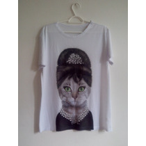 Blusa De Malha Estampa Elegant Angel Audrey Hepburn Cool Cat