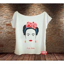 Blusa Feminina Gola Canoa Camisa Frida Kahlo Pop Pintura Art