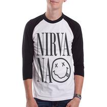 Raglan Nirvana Camisetas Moletom Bandas Rock Kurt Cobain