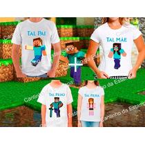 Kit 4 Camisetas Minecraft Tal Mãe Tal Pai Tal Filho Filha