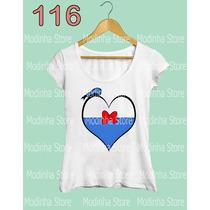 Tshirt Feminina Coração Pato Donald