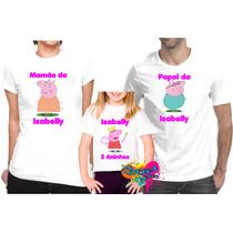 Camiseta - Camisa Personalizada Peppa E George Pig A4 - 3pçs