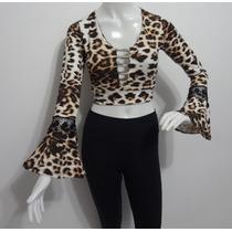 Blusa Feminina Cropped Top Estampa Onça Oncinha Renda Strass