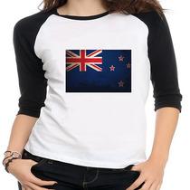 Camiseta Raglan Bandeira Nova Zelândia - Feminina