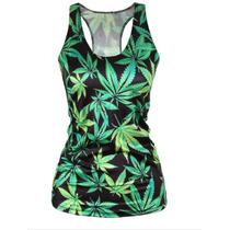 Blusa Regata Estampa Sublimada 3d Marijuana Erva Reggae