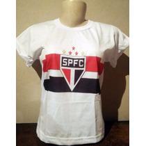 Camisetas De Times - São Paulo - Baby Look Feminina