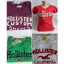 Camiseta Feminina Hollister Kit 3 Peças Varias Cores