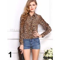Camisa Estampada Animal Print - Onça Oncinha Leopardo