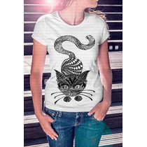 Camiseta Estampa Feminina Gato Mandala