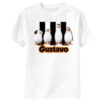 Camiseta Os Pinguins De Madagascar Personalizada - Listras