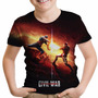 Camiseta Infantil Civil War Capitão América Guerra Civil Md5