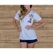 Camiseta T-shirt Feminina - Básica Bolso Decote V Profundo
