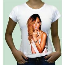 Camiseta Personalizada Rihanna Babylook De Algodão