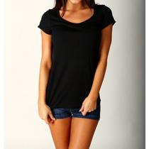 Camiseta Blusinha Lisa Básica - Gola Canoa - Camisetas Sa