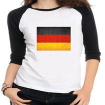 Camiseta Raglan Bandeira Alemanha - Feminina