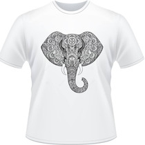 Camiseta Elefante Mandala Psicodelia Camisa Masculina Branca