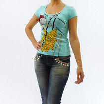 Blusa Feminina - Manga Curta - Tshirt - Tecido Leve Bordado