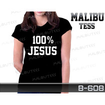 Baby Look Gospel 100% Jesus Evangélica Personalizada