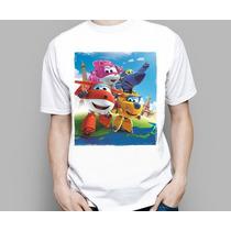 Camiseta Infantil Desenho Super Wings Aviões Discovery Kids