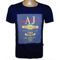 Camiseta Armani Camisa Gola Careca Azul Escuro Original