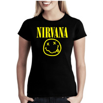 Camiseta Bandas Rock Nirvana Baby Look Feminina