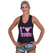 Regata Cavada Longa Universal Academia Feminina Fitness Top