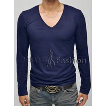 Camiseta Manga Longa Regata Blusa Basica Inverno Gola V Malh