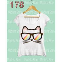 Blusa Tshirt Feminina Estampa Gato Instagram Óculos Moda