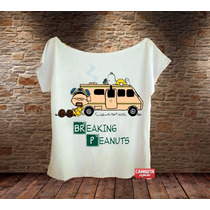 Blusa Feminina Gola Canoa Charlie Brown Snoopy Breaking Bad