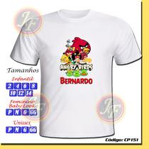 Camiseta Camisa Personalizada Angry Birds