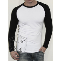 Blusa Ou Camiseta Masculina Manga Colorida Longa Ou Curta