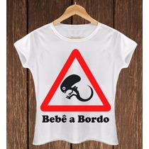 Camiseta Feminina Babylook Bebê Alien Divertida Mãe Grávida