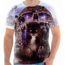 Camiseta, Camisa Blusa Caveira Onça Tigre Caveiras Skull 160